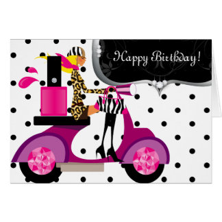 Cute Birthday Party Nail Polish Scooter Girl Dots Greeting Cards