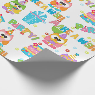 Cute Birthday Party Owls Wrapping Paper