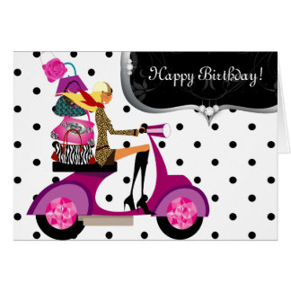 Cute Birthday Party Purse Scooter Girl Dots Card
