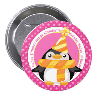 Cute Birthday Penguin Pinback Button