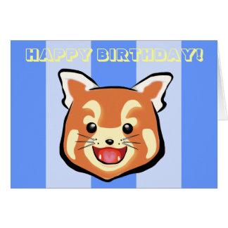 Cute Birthday Red Panda  (Blue Stripes) Greeting Card