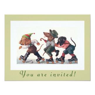 Cute Birthday Skating Party Funny Animals Card