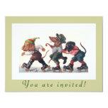 Cute Birthday Skating Party Funny Animals 4.25x5.5 Paper Invitation Card