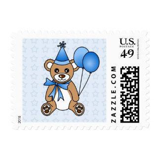 Cute Birthday Teddy Bear - Blue Postage