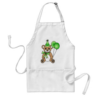 Cute Birthday Teddy Bear - Green Adult Apron