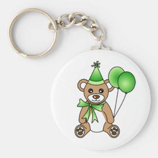 Cute Birthday Teddy Bear - Green Basic Round Button Keychain