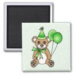 Cute Birthday Teddy Bear - Green 2 Inch Square Magnet