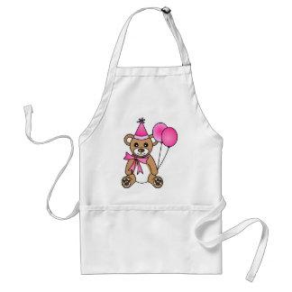 Cute Birthday Teddy Bear - Pink Adult Apron