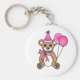 Cute Birthday Teddy Bear - Pink Keychain