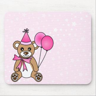 Cute Birthday Teddy Bear - Pink Mouse Pad