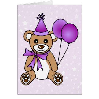 Cute Birthday Teddy Bear - Purple Card