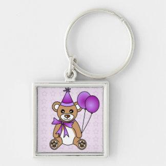 Cute Birthday Teddy Bear - Purple Keychain