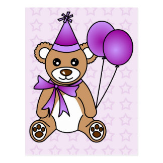 Cute Birthday Teddy Bear - Purple Postcard