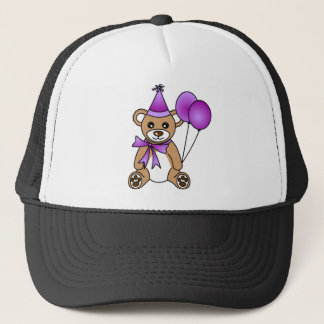 Cute Birthday Teddy Bear - Purple Trucker Hat