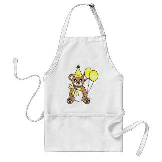 Cute Birthday Teddy Bear - Yellow Adult Apron