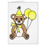 Cute Birthday Teddy Bear - Yellow Card