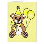 Cute Birthday Teddy Bear - Yellow Greeting Cards