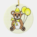 Cute Birthday Teddy Bear - Yellow Christmas Ornament