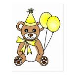Cute Birthday Teddy Bear - Yellow Post Cards