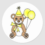 Cute Birthday Teddy Bear - Yellow Round Sticker
