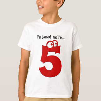 Cute Birthday Tee for Five Year Old Fun Red Number