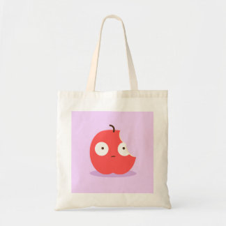 Cute Bitten Red Cartoon Apple with Pink Background Tote Bag