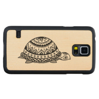 Cute Black Abstract Floral Turtle Line Drawing Carved® Maple Galaxy S5 Slim Case
