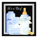 Cute Black and Blue Baby Boy Shower Personalized Announcements