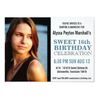 Cute Black  and Blue Mod Text Photo Sweet 16 Party 4.5x6.25 Paper Invitation Card