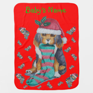cute black and brown puppy christmas stocking dog stroller blanket