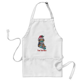 cute black and brown puppy with christmas stocking adult apron