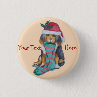 cute black and brown puppy with christmas stocking button
