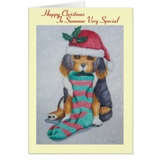 cute black and brown puppy with christmas stocking greeting cards