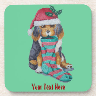cute black and brown puppy with christmas stocking coaster