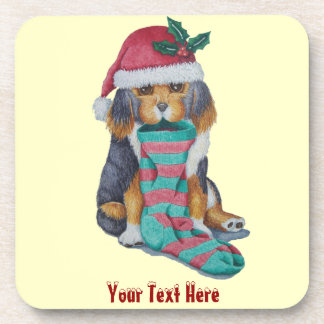 cute black and brown puppy with christmas stocking beverage coasters