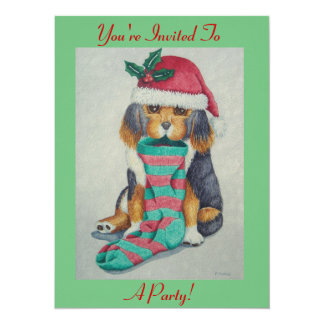 "cute black and brown puppy with christmas stocking 5.5"" x 7.5"" invitation card"
