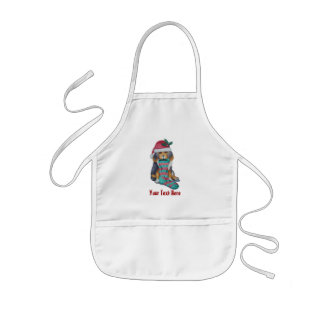 cute black and brown puppy with christmas stocking kids' apron