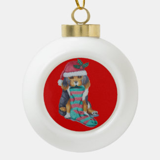 cute black and brown puppy with christmas stocking ornament
