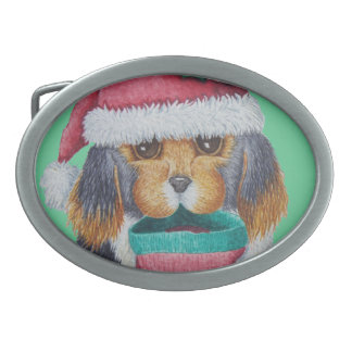 cute black and brown puppy with christmas stocking oval belt buckle