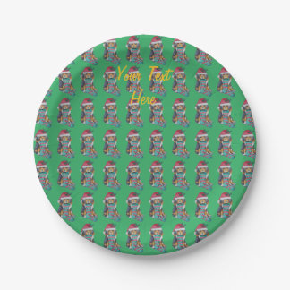 cute black and brown puppy with christmas stocking paper plate