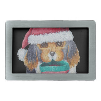 cute black and brown puppy with christmas stocking rectangular belt buckle
