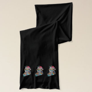 cute black and brown puppy with christmas stocking scarf