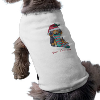 cute black and brown puppy with christmas stocking tee