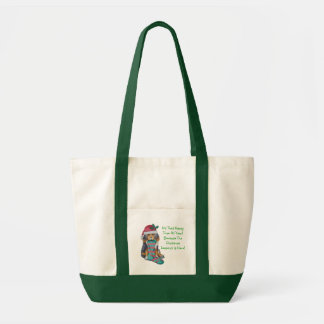 cute black and brown puppy with christmas stocking tote bag
