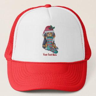 cute black and brown puppy with christmas stocking trucker hat