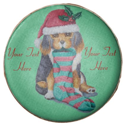 cute black and brown puppy with christmas stocking chocolate dipped oreo