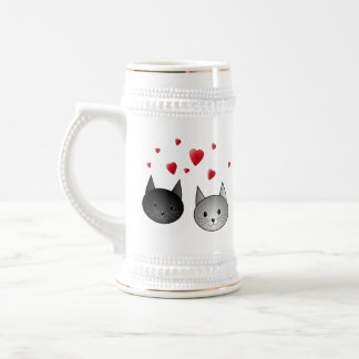 Cute Black and Gray Cats, with Hearts. 18 Oz Beer Stein