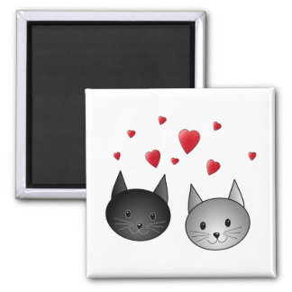 Cute Black and Gray Cats, with Hearts. 2 Inch Square Magnet