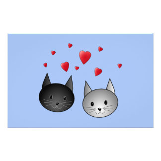 """Cute Black and Gray Cats, with Hearts. 5.5"""" X 8.5"""" Flyer"""