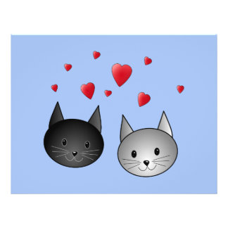 """Cute Black and Gray Cats, with Hearts. 8.5"""" X 11"""" Flyer"""